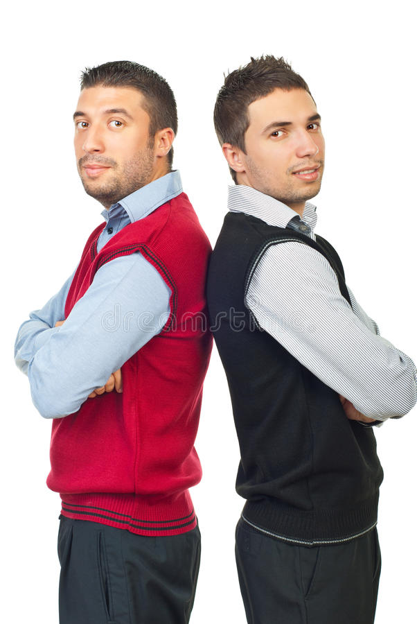 Two businessmen in shirts and vests royalty free stock photo