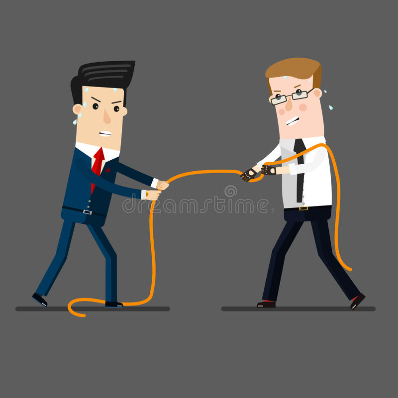 Two businessmen in a tug of war battle, for leadership or business competition. Business concept cartoon illustration stock illustration