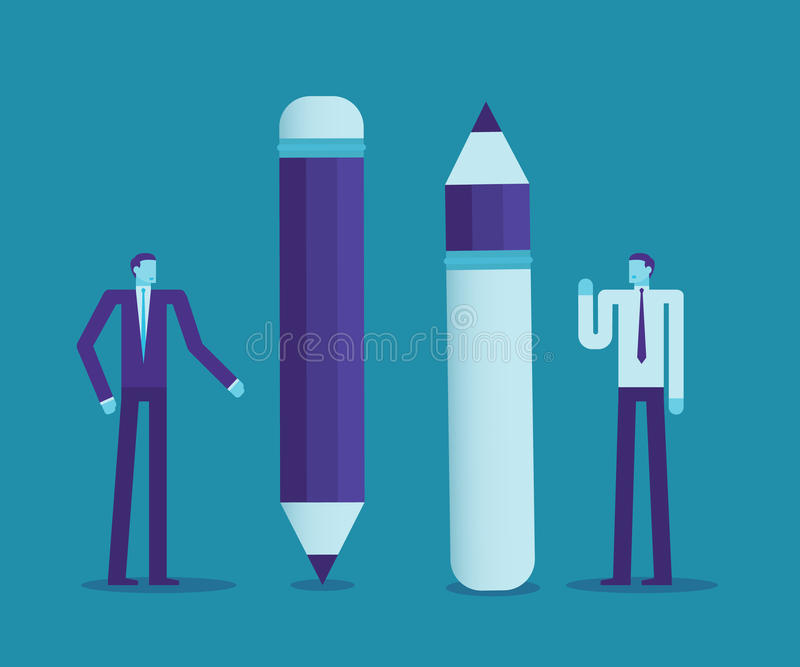 Two businessmen use the difference of pencils, Think creative or negative, Business concept. royalty free illustration