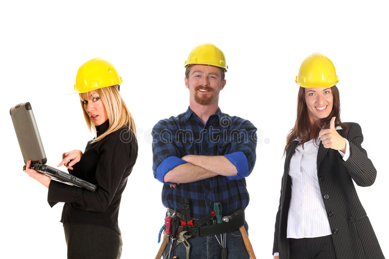 Two businesswoman and construction worker stock photo
