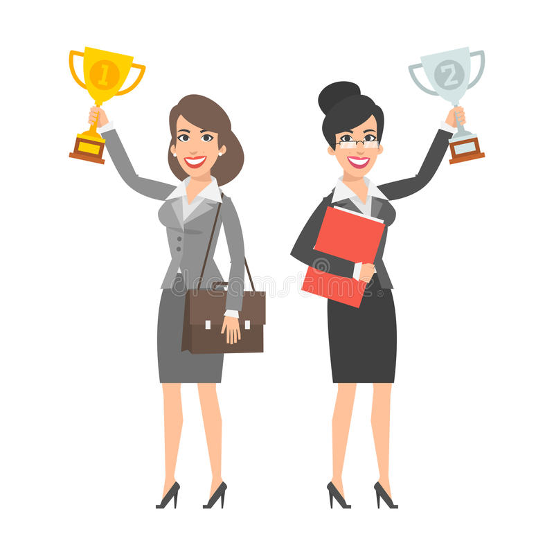 Two businesswomen holding cup and smiling stock illustration