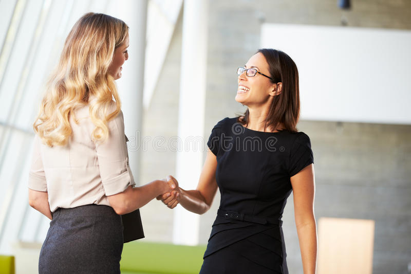 Download Two Businesswomen Shaking Hands In Modern Office Stock Photo - Image: 28523810