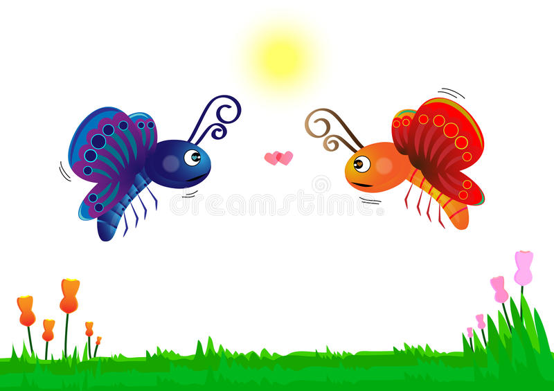 Two butterflies in love on green grass with flowers on white background vector illustration