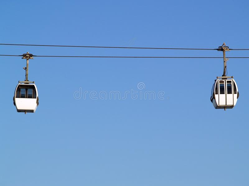 Two cable-car cabins royalty free stock photo