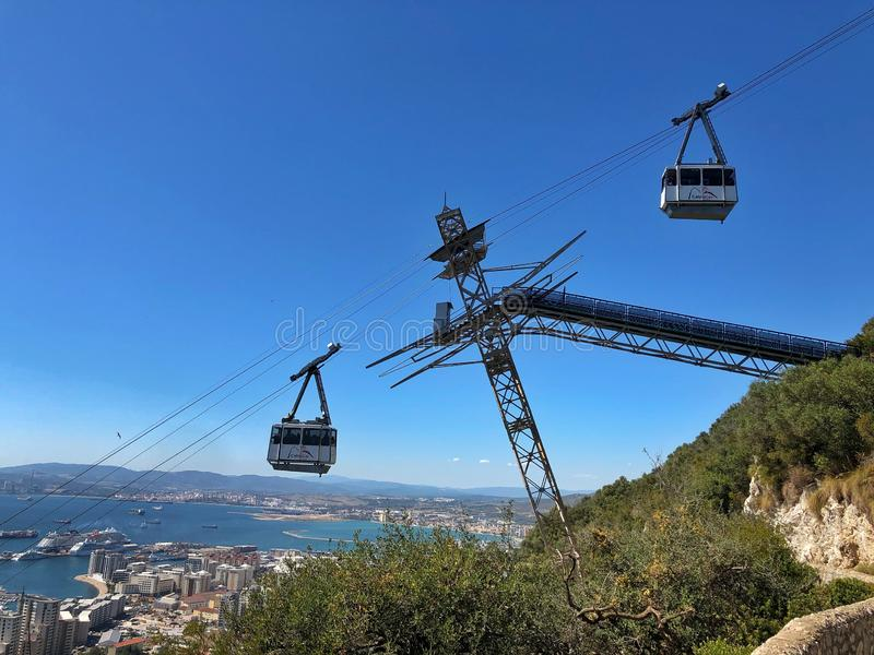 Cable cars in Gibraltar royalty free stock image