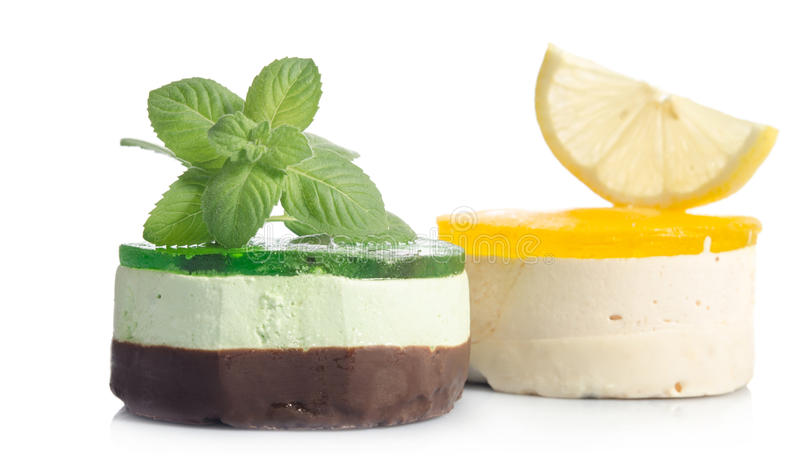 Two cakes with lemon and mint royalty free stock photos