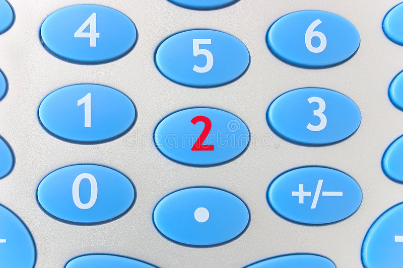 Two - Calculator. A red number two on a calculator keyboard stock photography