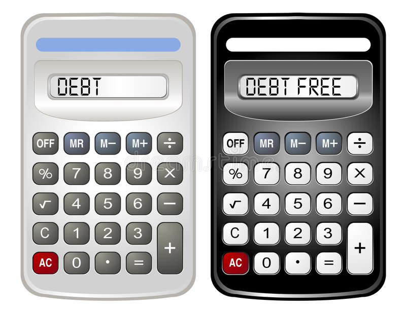 Two Calculators (Debt and Debt Free) royalty free illustration