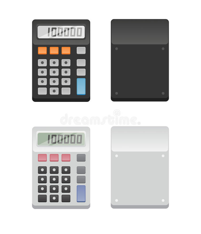 Two Calculators - front and back stock illustration