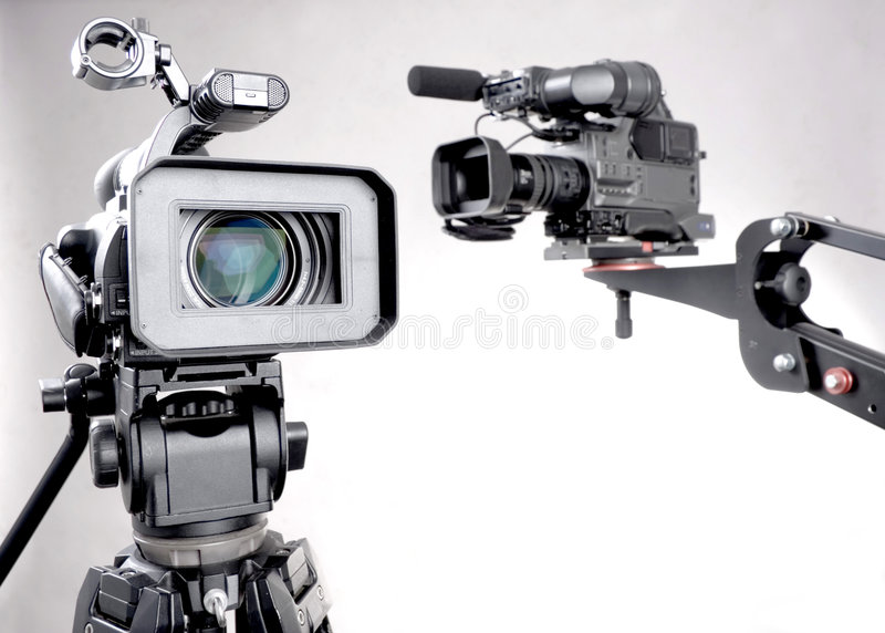 Download Two camcorders stock image. Image of black, broadcasting - 7505025
