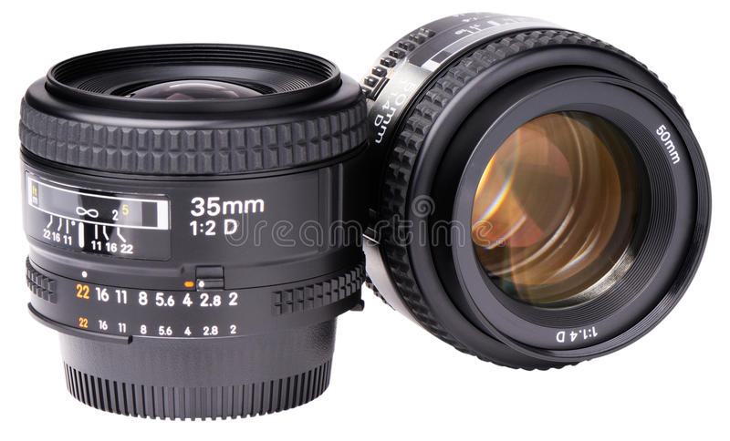 Two Camera Lenses Royalty Free Stock Image