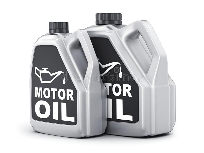 Two can motor oil on white background vector illustration