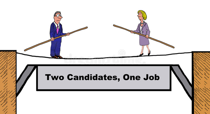Two candidates, one job vector illustration