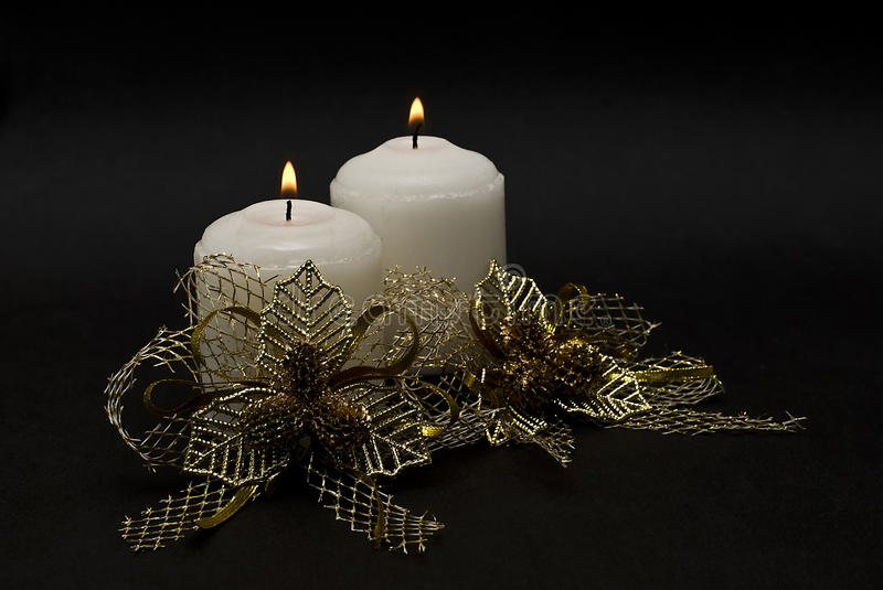 Download Two Candles And Golden Bonds. Stock Photo - Image: 15448430