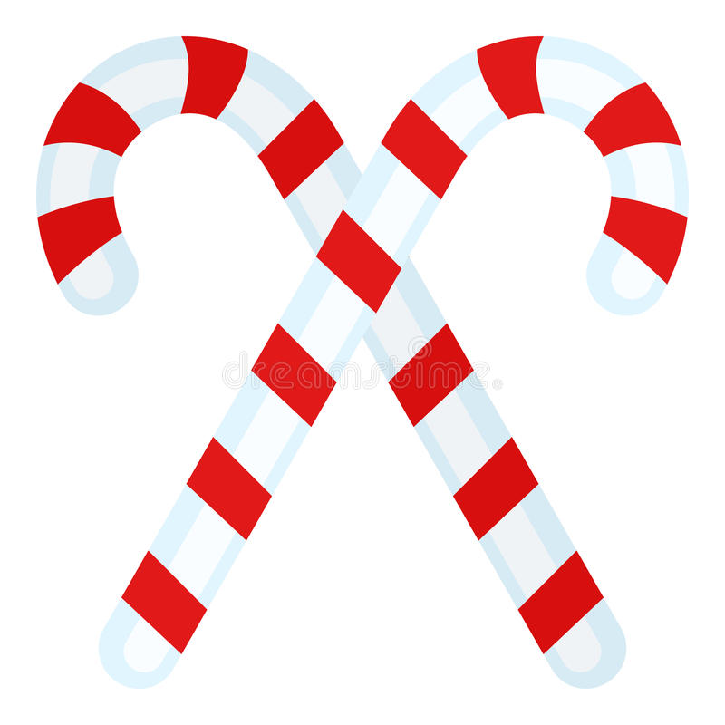 Two Candy Canes Flat Icon on White stock illustration