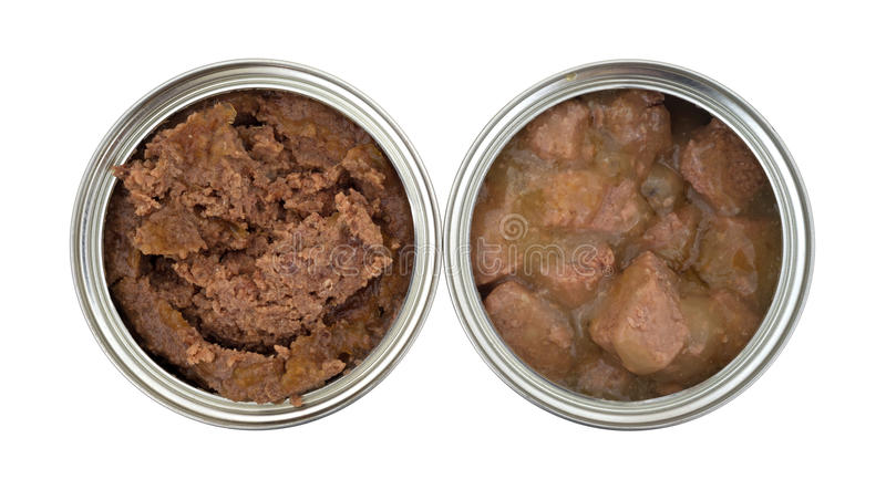 Two cans of opened dog food royalty free stock image