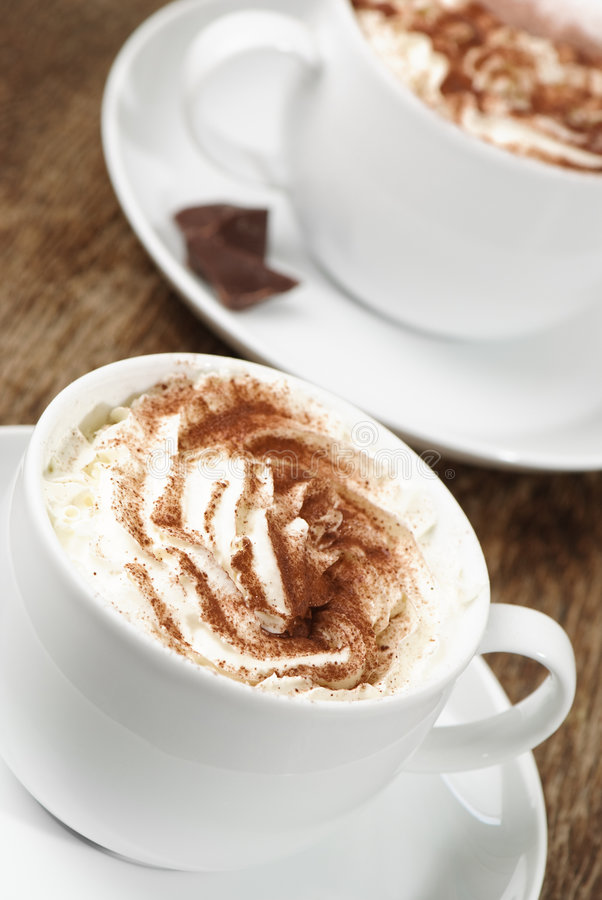 Download Two Cappuccinos stock image. Image of dusted, sprinkled - 8147843
