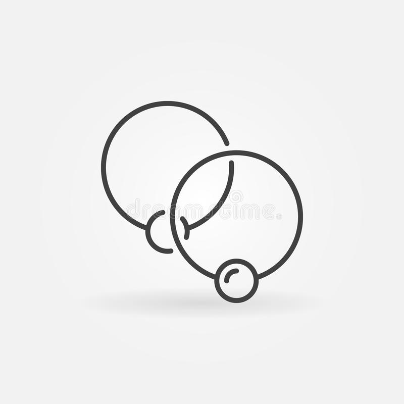 Two captive rings minimal icon - vector ball closure ring sign. Or logo element in thin line style vector illustration