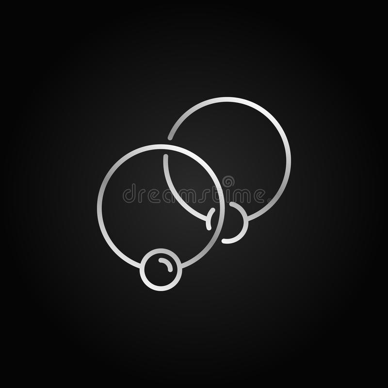 Two captive silver rings icon - vector ball closure ring sign. Or logo element in linear style on dark background vector illustration