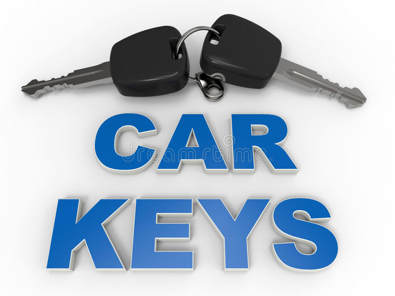 Two car keys illustration. 3D rendered illustration of two car keys. The composition is placed over a white background with soft shadows and has and has a text royalty free illustration