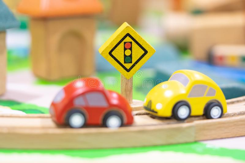two car model-Traffic road sigh toy royalty free stock images