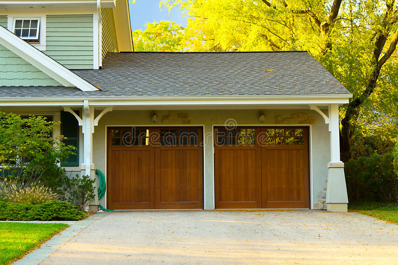 Download Two car wooden garage stock photo. Image of residence - 21718374