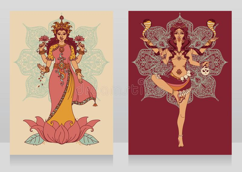 Two cards with indian goddess Lakshmi and Kali and mandala round ornament. Vector illustration royalty free illustration