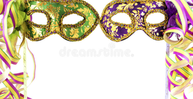 Two carnival masks stock images