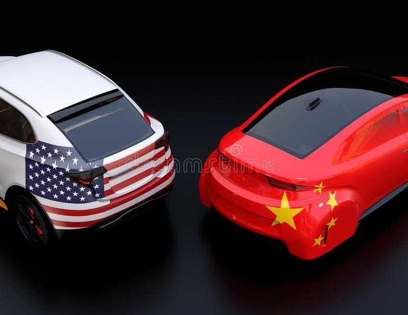 Two cars with China and US flags on rear side stock illustration