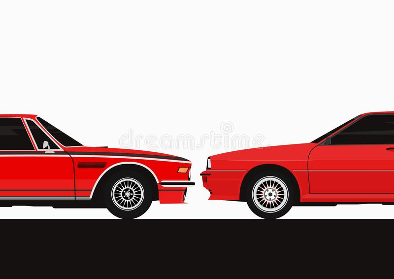 Two cars facing each other. royalty free illustration