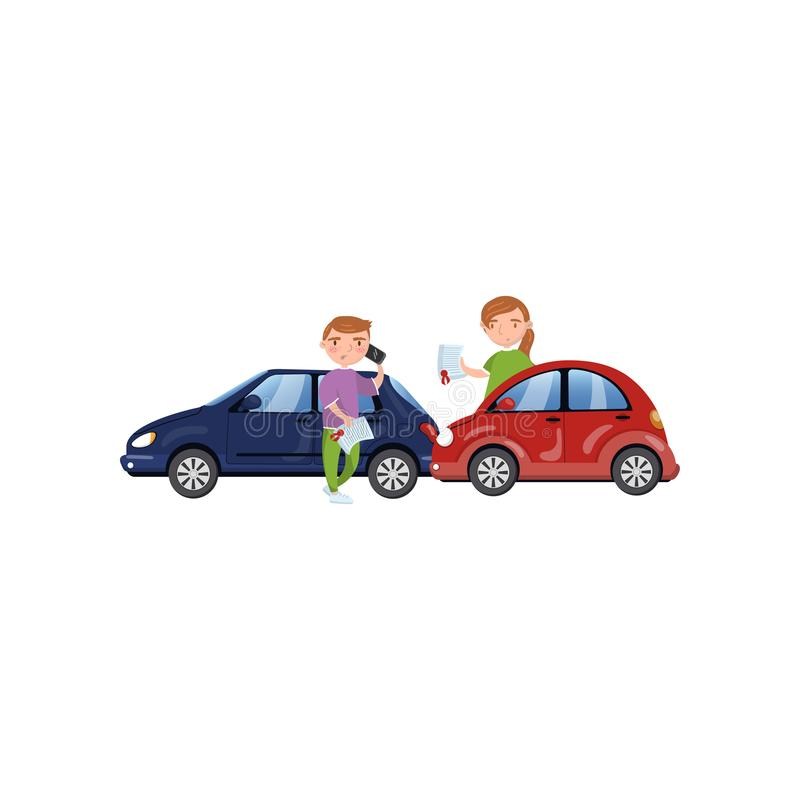 Two cars involved in a car wreck, auto insurance concept cartoon vector Illustration. On a white background royalty free illustration