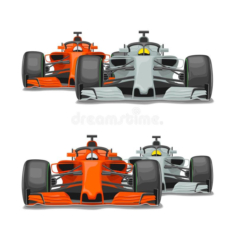 Free Two Cars Overtake. Front View. Vector Flat Stock Photo - 110973770