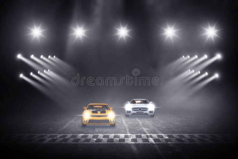 Two cars race track finish line racing. On night stock illustration