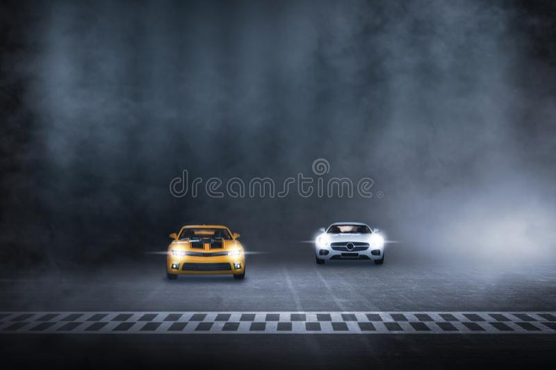 Two cars race track finish line racing. On night royalty free illustration