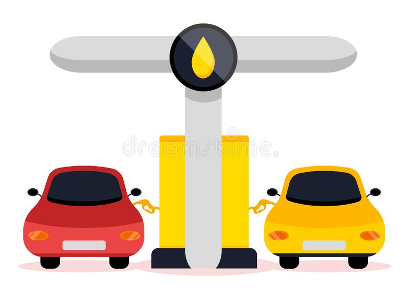 Petrol gas service. Station set. Flat vector illustrations icon. Isolated on white. Attributes of gas station: canister, petrol pump, car repairs, fast food vector illustration