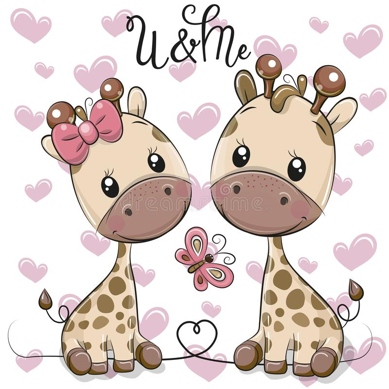 Two Cartoon Giraffes on a hearts background royalty free illustration