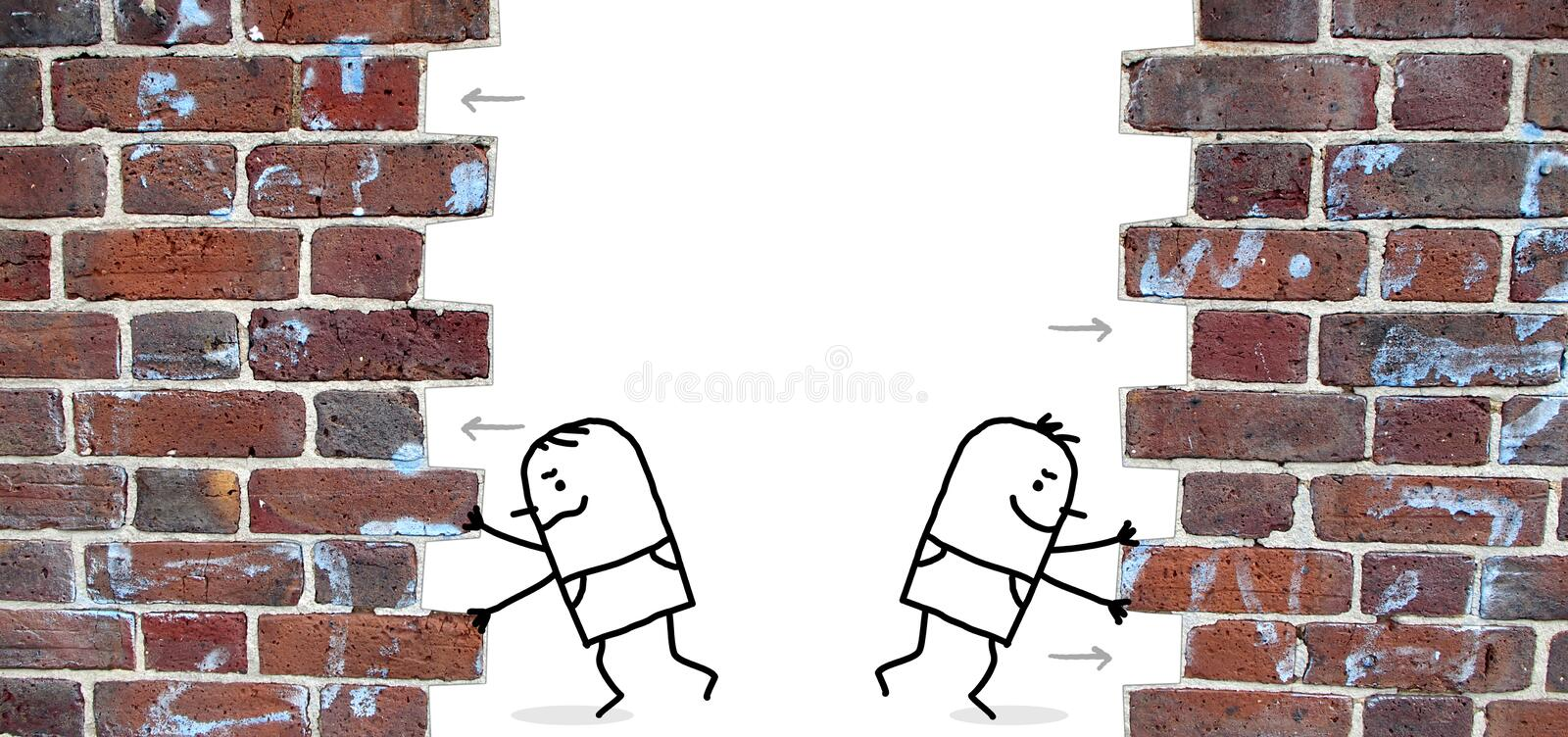 Two cartoon men pushing and open up a wall stock photography