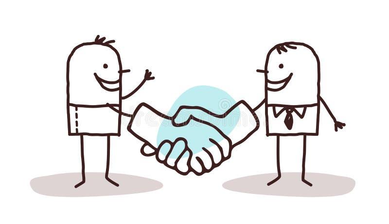 Two cartoon men shaking big hands. Vector stock illustration