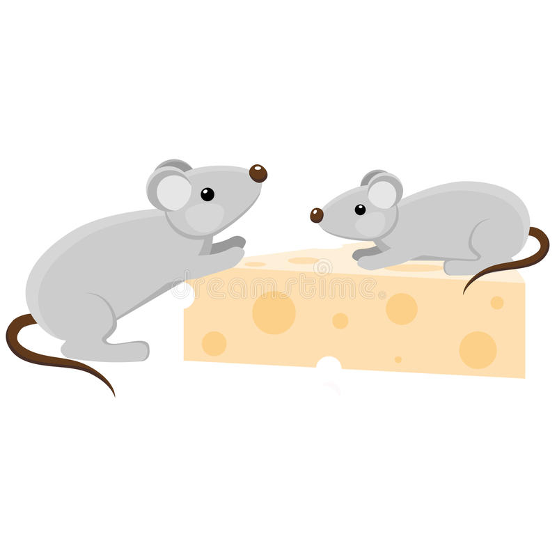 Two cartoon mouses with a piece of cheese stock photos