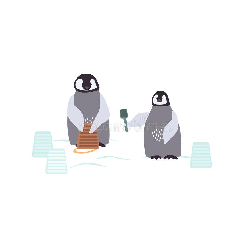 Two cartoon penguins are bulding a snowcastle. Playing emperor baby penquins background. Vector illustration. stock illustration
