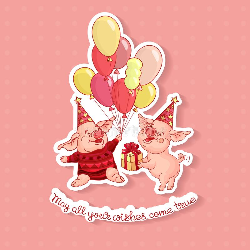 Two cartoon pigs on a birthday hat. Vector. stock illustration