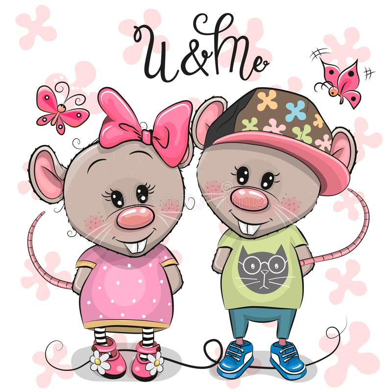 Free Two Cartoon Rats On A Flowers Background Royalty Free Stock Photography - 141158587