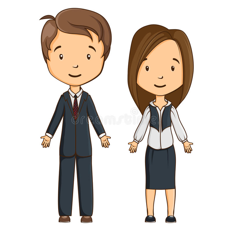 Two cartoon style managers. Isolated. Boy and girl vector illustration