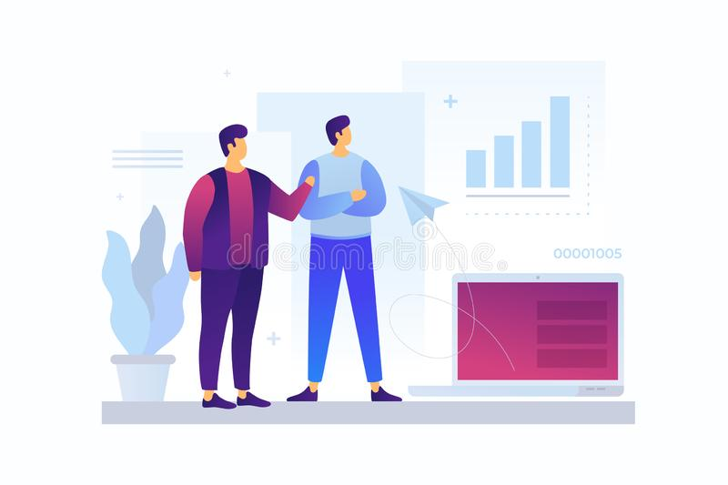 Two cartoon young businessmen discussing strategy of doing business. Concept of teamwork, exchange of ideas, communication. Entrepreneurs talk about commercial stock illustration