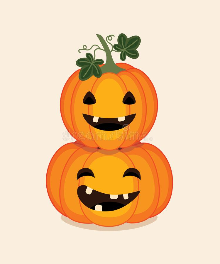 Two carved pumpkins autumn fall orange smiling on cream. Colorful vector carved pumpkins with smiling faces isolated on a cream background. Autumn illustration royalty free illustration
