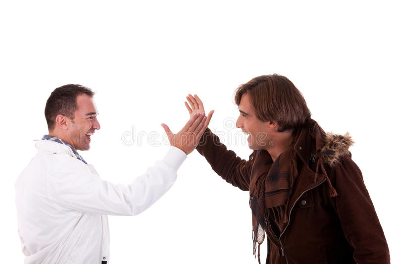 Two casual men greeting , isolated on white stock images