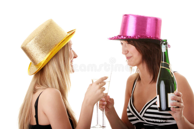 Download Two Casual Young Women Enjoying Champagne Stock Image - Image of model, cheers: 10489991