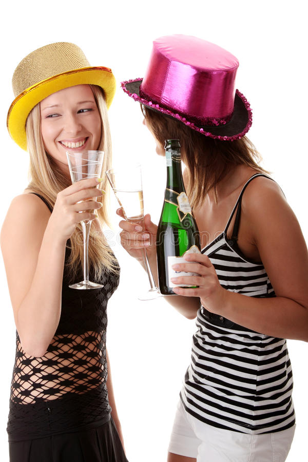 Download Two Casual Young Women Enjoying Champagne Stock Image - Image of clubbing, girls: 10490495