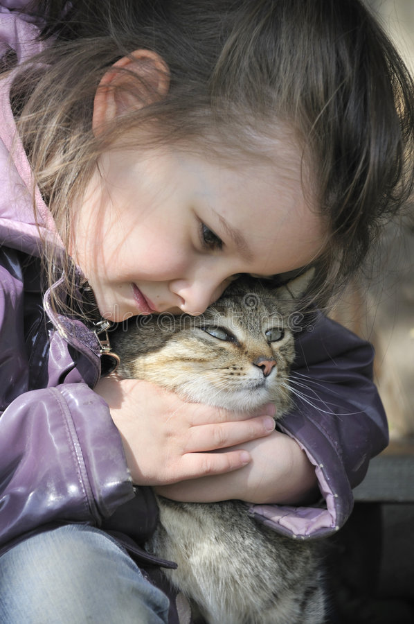 Download Two cats stock image. Image of tenderness, girl, friendship - 5991147