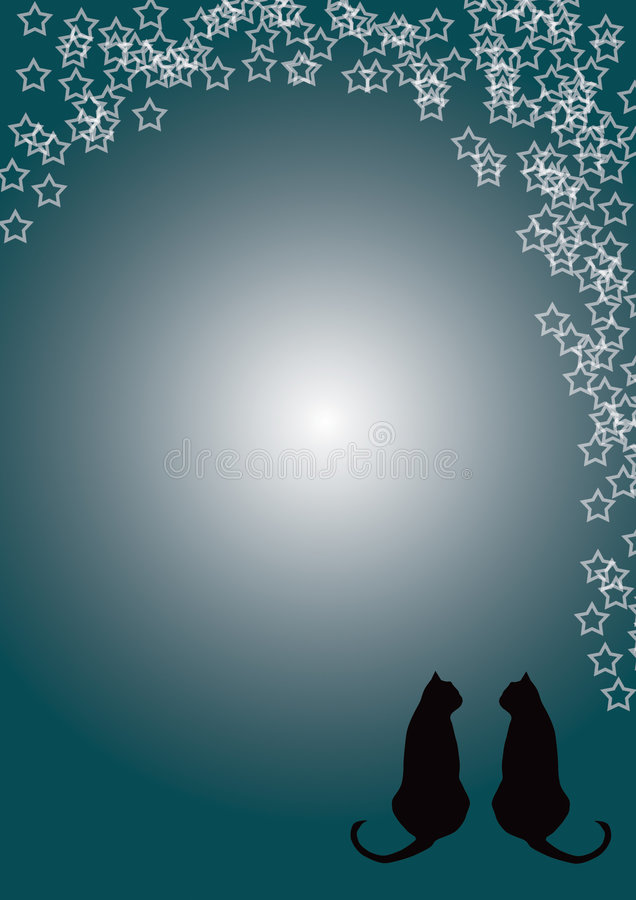 Download Two cats stock illustration. Image of birthday, silhouette - 7849470